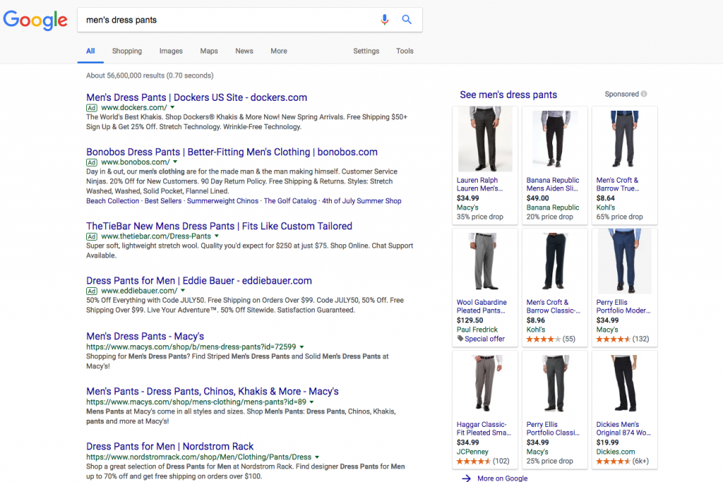 keyword research for ecommerce seo - mens dress pants on Google Search