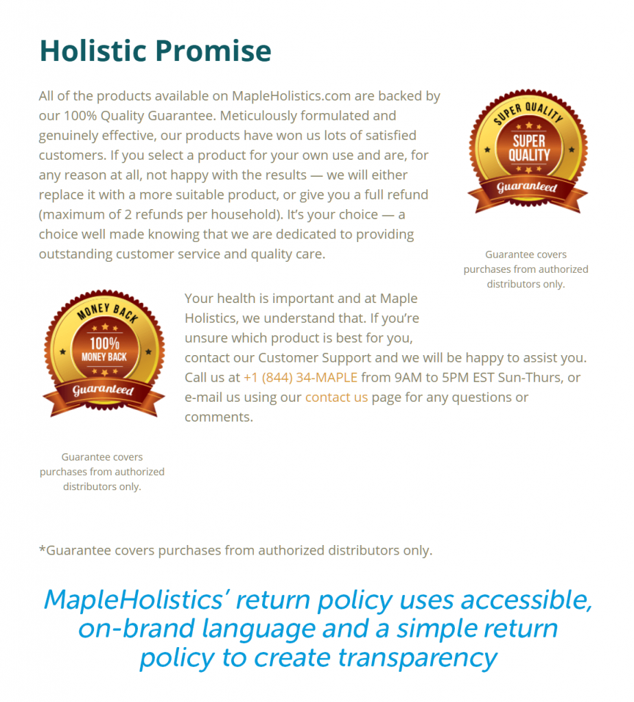 mapleholistic return policy uses on brand language and is accessible and simple