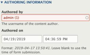 Drupal 8 Authoring Information menu