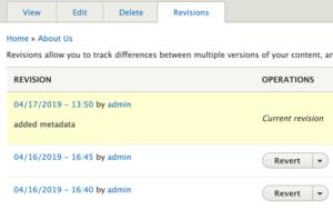 Drupal 8 Revisions tab options