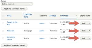 Drupal 8 Content Management interface