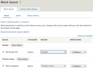 Drupal 8 Block Layout options
