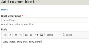 Drupal 8 Add Custom Block menu with sample entries