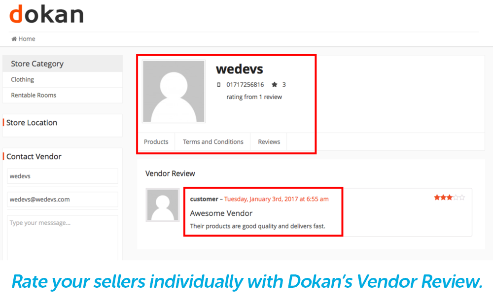 sellers and products can be reviewed separately with vendor review on dokan