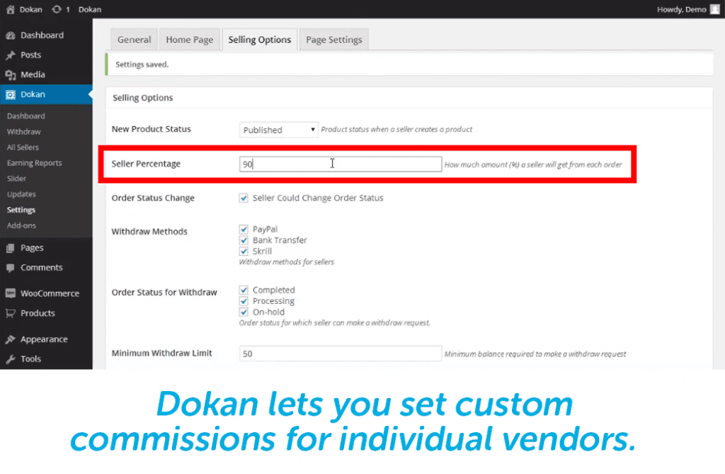 store owners can set individual vendor commissions with dokan