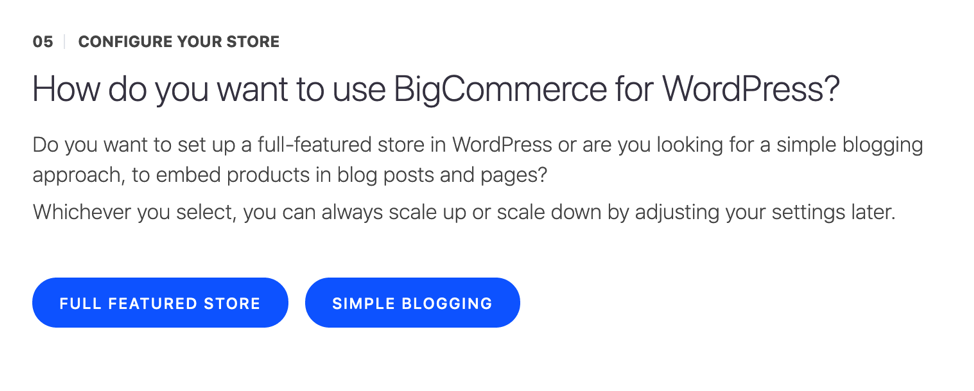 then select how to want to use the bigcommerce plugin
