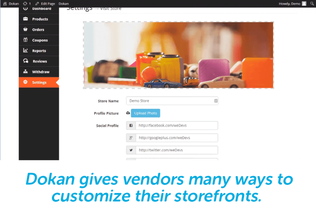 vendors can customize their storefront with dokan