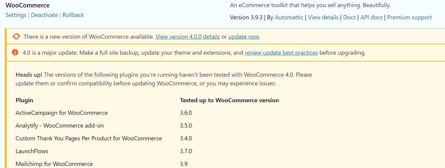 Compatibility with WooCommerce 4.0