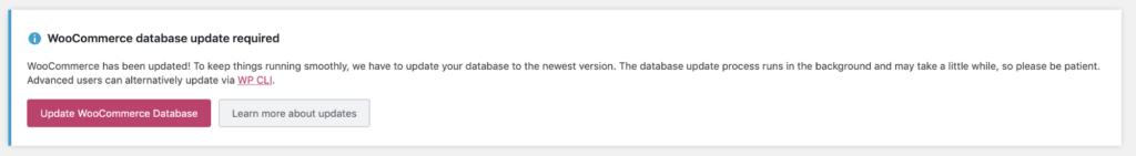 WooCommerce database update notice