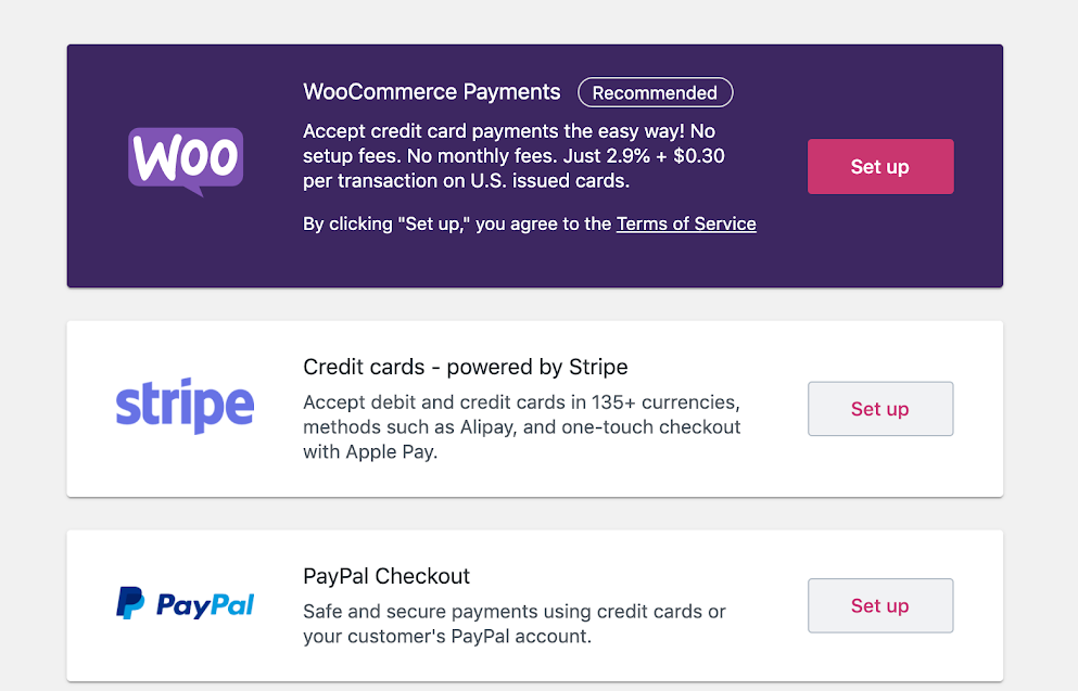 WooCommerce Payments in welcome wizard