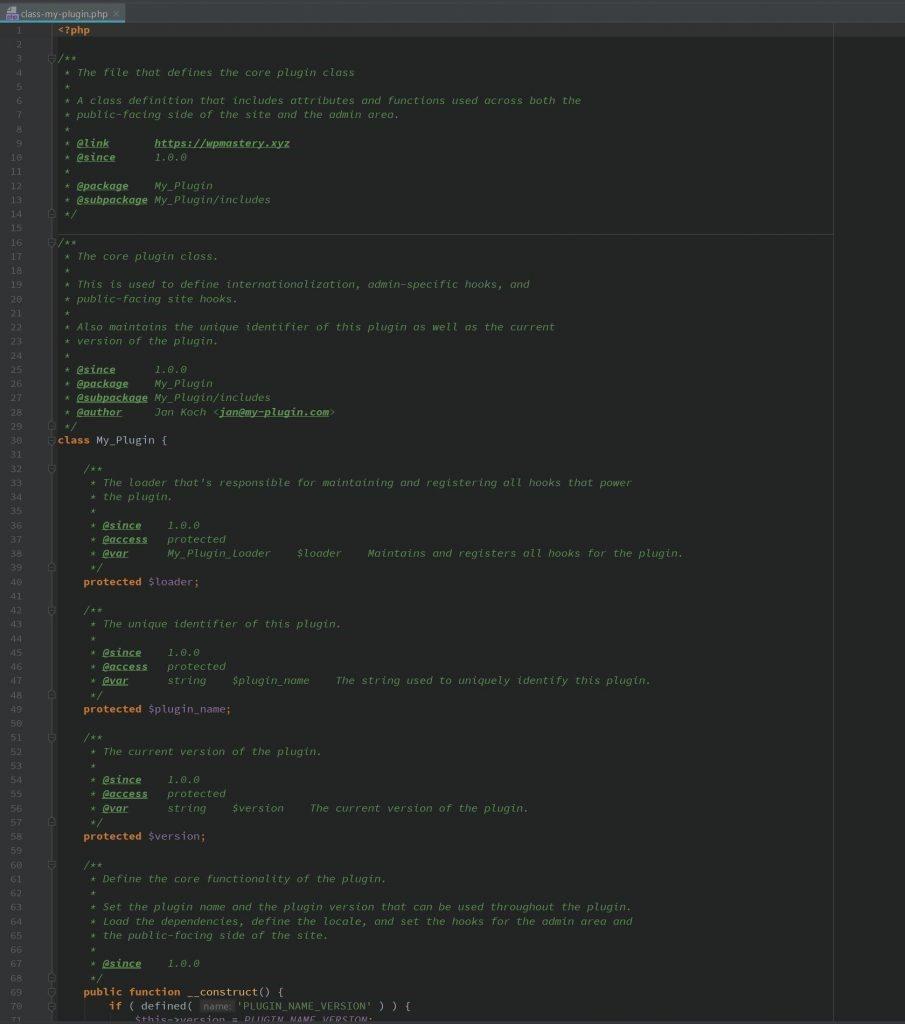 wppb boilerplate - core file