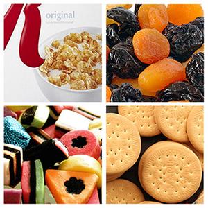 Getreide, Trockenfrüchte, Kekse, Bonbons