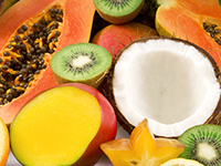 Tropical fruits are lower calorie filler foods.