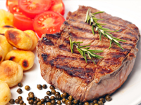 Lean beef steak, round or loin, is a lower calorie filler food.