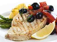Swordfish is a lower calorie filler food.