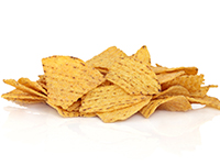 Baked corn tortilla chips are a lower calorie filler food.