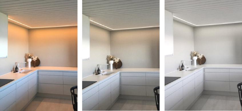 Kjøkken med LED-stripe i tunable white