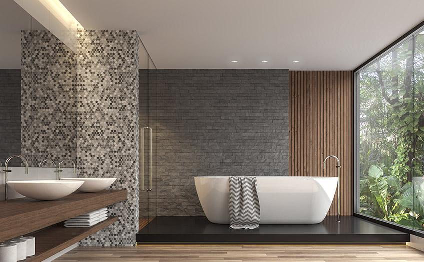 Bad med LED-stripe over vask og spotter over badekar
