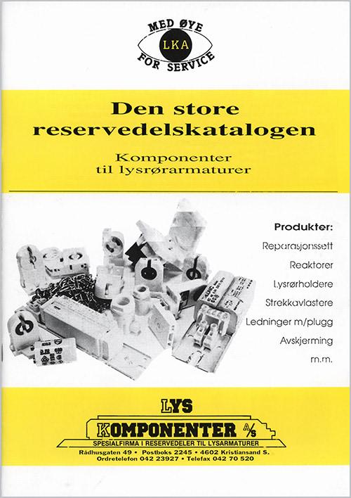 Lyskomponenters første katalog med reservedeler fra 1991