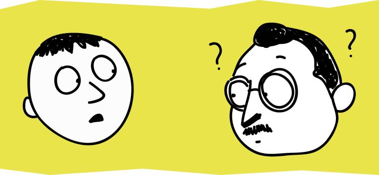 Dibujo de dos personas hablando