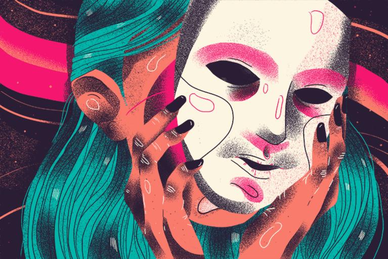 Ilustración de una mujer poniéndose una máscara de actor