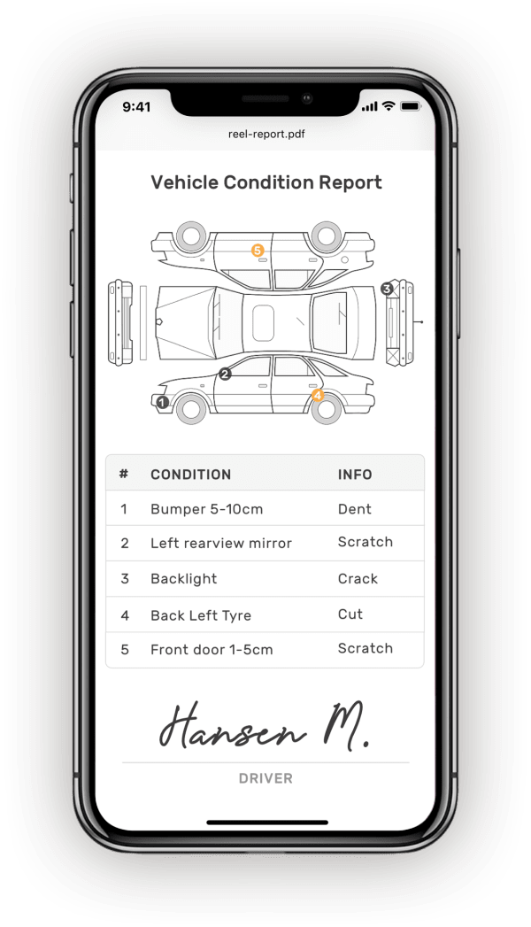 Check car condition report in PDF on mobile device.