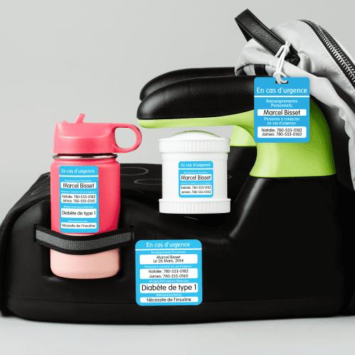Étiquettes de contact d'urgence
