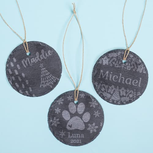 Personalized Slate Holiday Ornament
