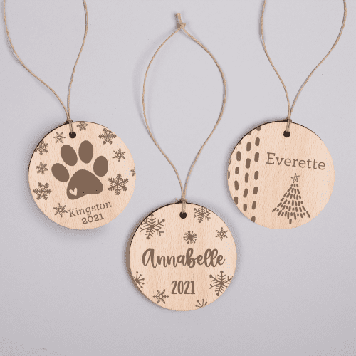 Personalized Wooden Holiday Ornament