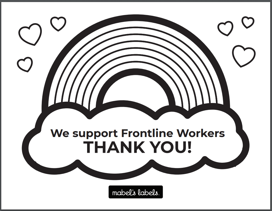 We Support Front Line Workers Thank You Printable from Mabel's Labels