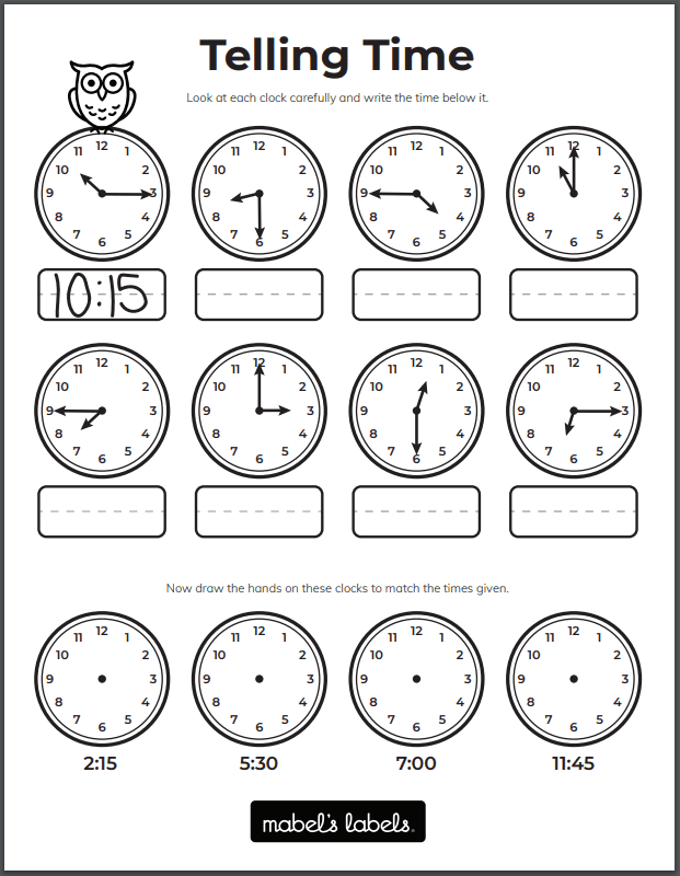 Telling Time Printable from Mabel's Labels