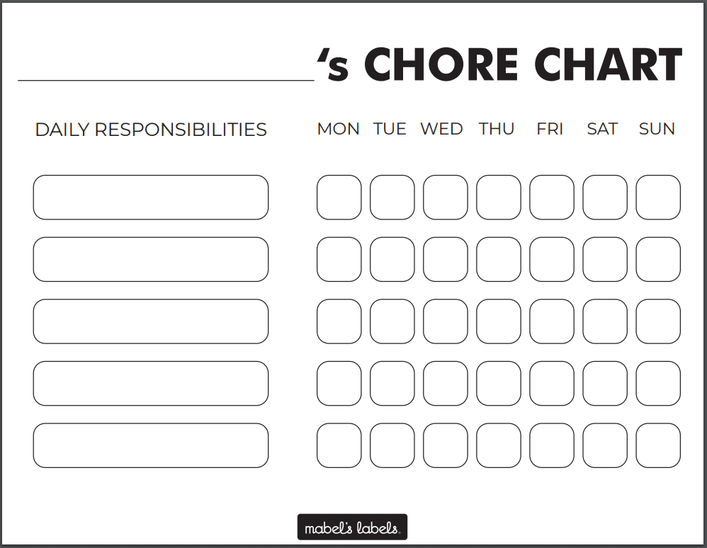 Kid's Chore Chart Printable from Mabel's Labels