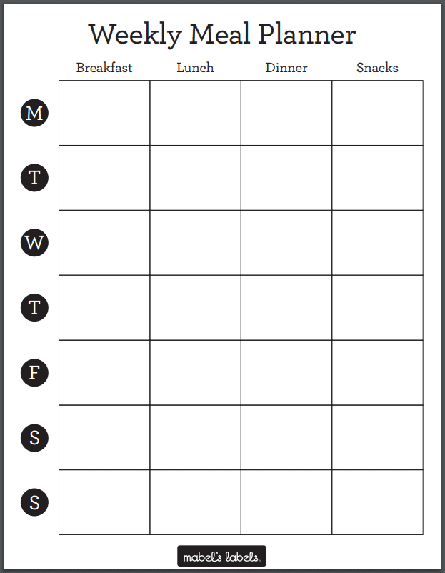 Weekly Meal Planner Printable from Mabel's Labels