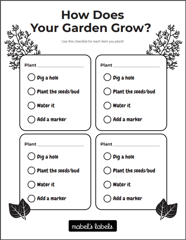 How Does Your Garden Grow Printable from Mabel's Labels