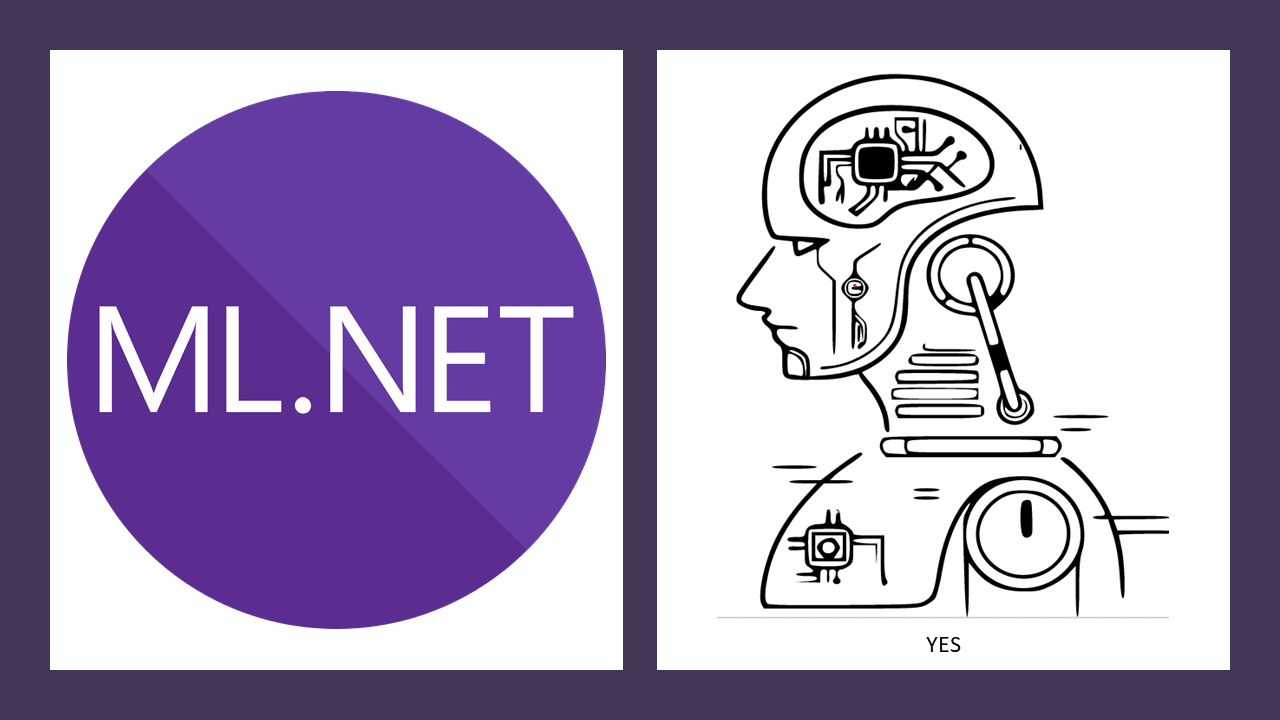 The ML.NET logo with a robot face next to it.