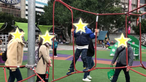 真冬の台北の子供たち