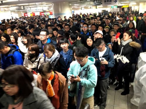 冬の台北の人たち