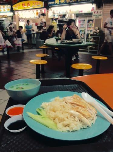 シンガポール チャイナタウン Maxwell Food Center 阿仔海南鶏飯 海南鶏飯(ハイナンチキンライス)