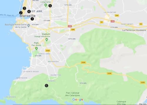 マルセイユ周辺地図