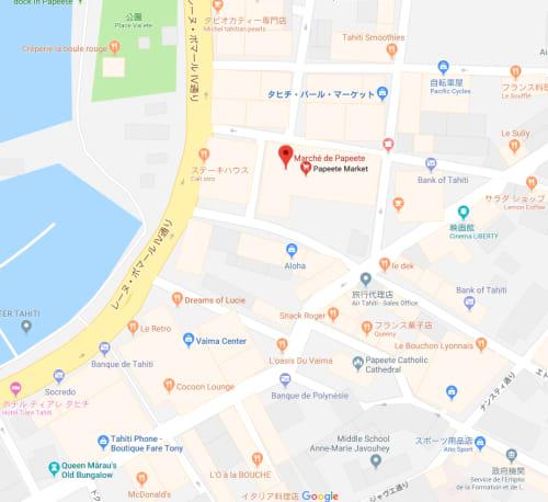 タヒチの市場の地図