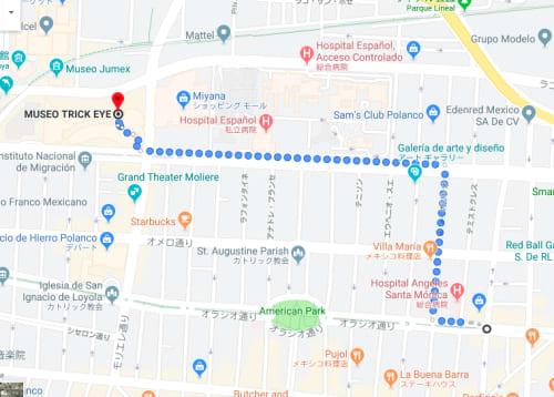 メキシコシティ Trickeye美術館周辺地図