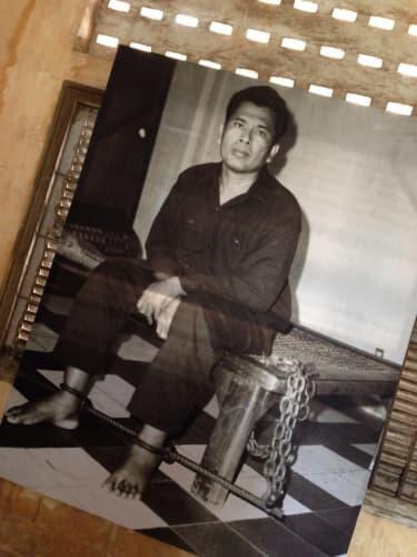 カンボジア プノンペン トゥールースレン虐殺博物館 収容されていた人の写真