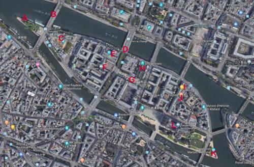 パリ シテ島観光地図