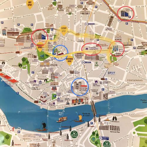ポルト市内の地図