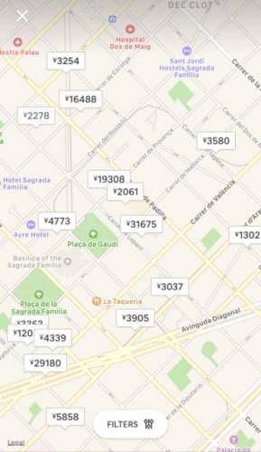 Airbnb 地図上検索