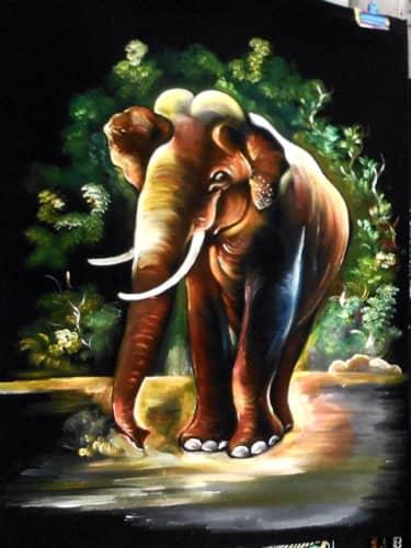 黒布地の絵画:ゾウ