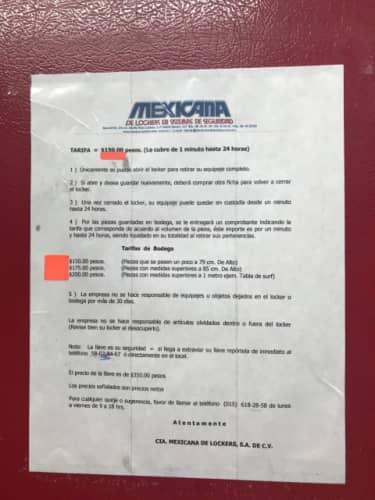 メキシコのコインロッカー費用案内