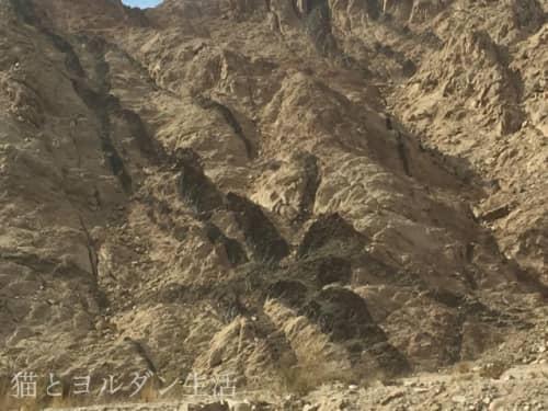 デザートハイウェイをアカバへ向かう途中にある、地層の見える山肌