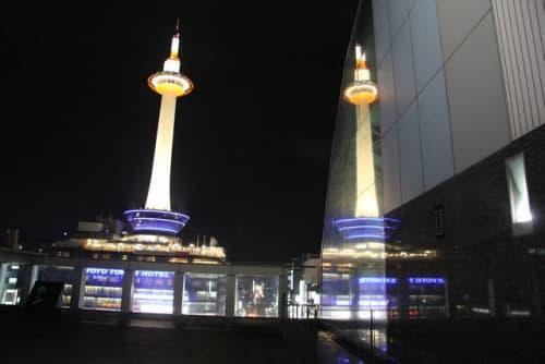 京都駅ビル・烏丸小路広場から見えるW京都タワー