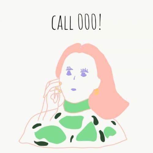 電話する女性の絵